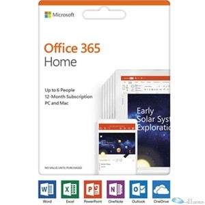 Microsoft Office 365 Home - Subscription - 6 PC/Mac, 6 User - 1 Year - Medialess, Product Key Card (PKC)