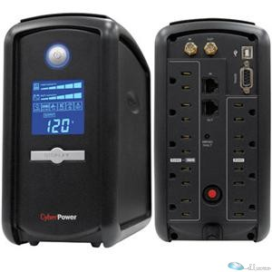 CyberPower CP1000AVRLCD - UPS - AC 120 V - 600 Watt - 1000 VA 9 Ah - RS-232, USB - output connectors: 9 - black